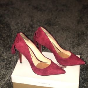 JS Centella port red suede pump shesdarlin!